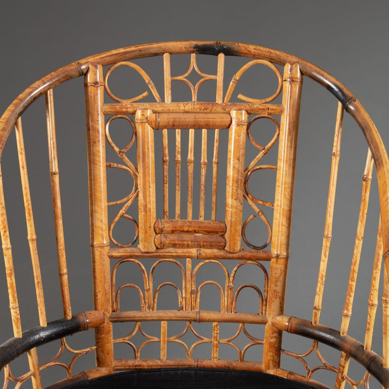 Four 20th Century Chinese Export Bamboo Armchairs For Sale 5