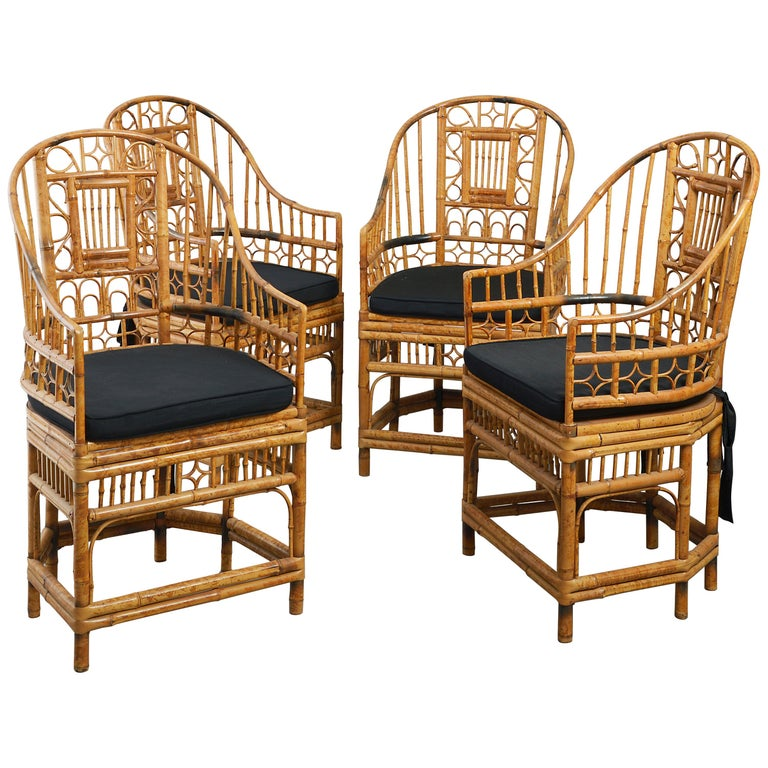 Four 20th Century Chinese Export Bamboo Armchairs For Sale