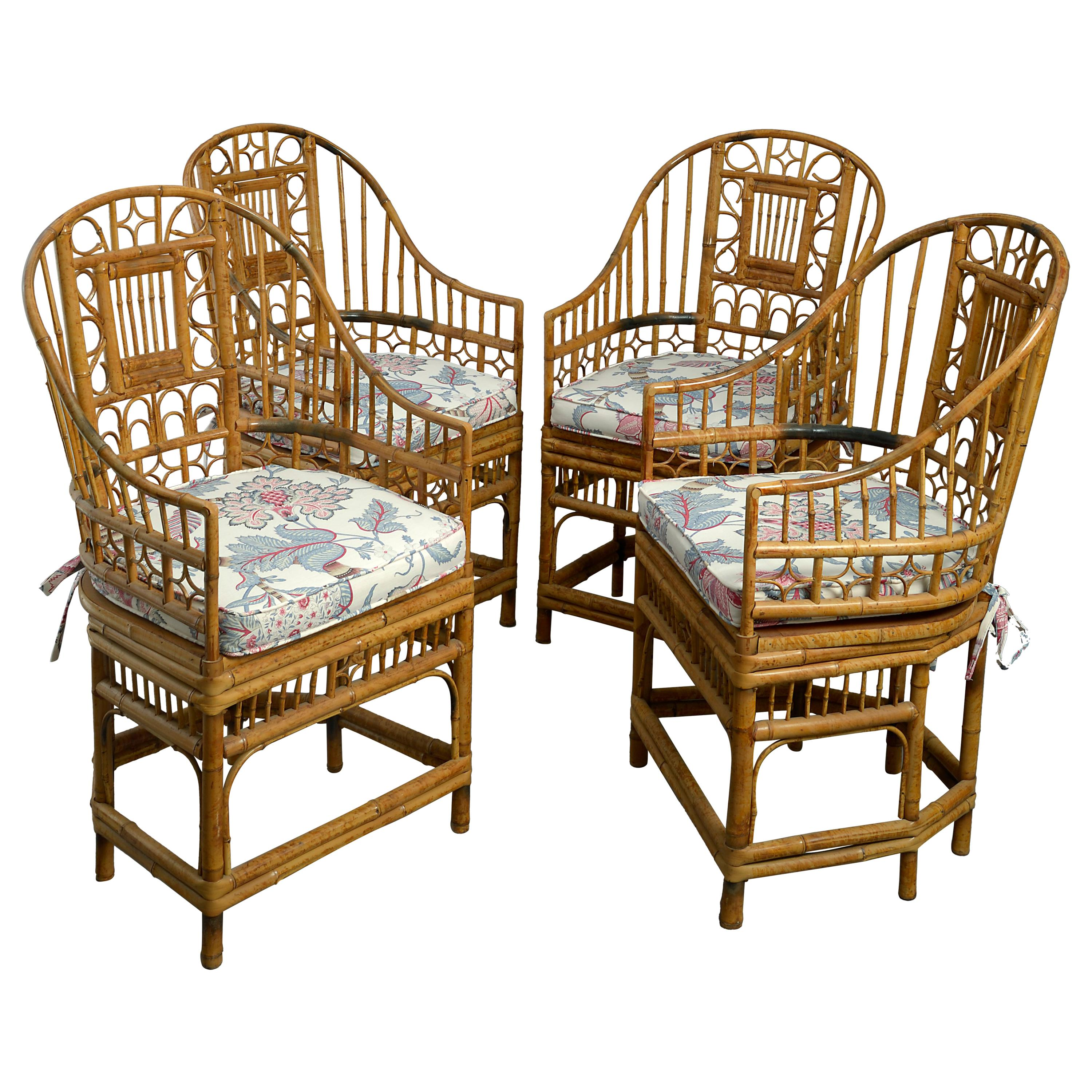 Four 20th Century Chinese Export Bamboo Armchairs