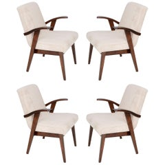Four 20th Century Vintage Light Cream Armchairs by Mieczyslaw Puchala, 1960s