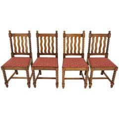 Four '4' Antique Oak Bobbin Leg Dining Chairs, Oak, Scotland 1920, B839