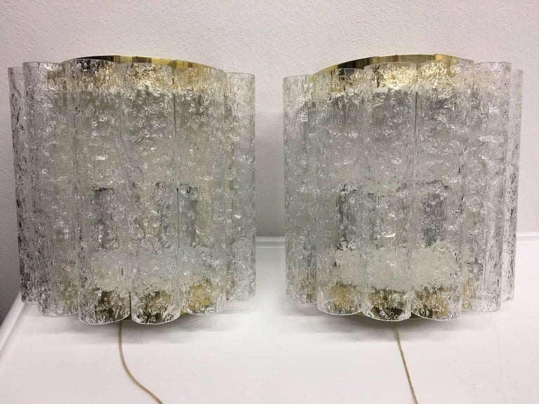 Four (4) German Brass Six Tubes Doria Glass Sconces In Good Condition For Sale In Frisco, TX