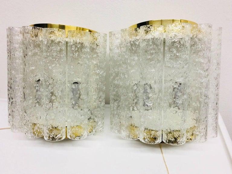 Mid-20th Century Four (4) German Brass Six Tubes Doria Glass Sconces For Sale