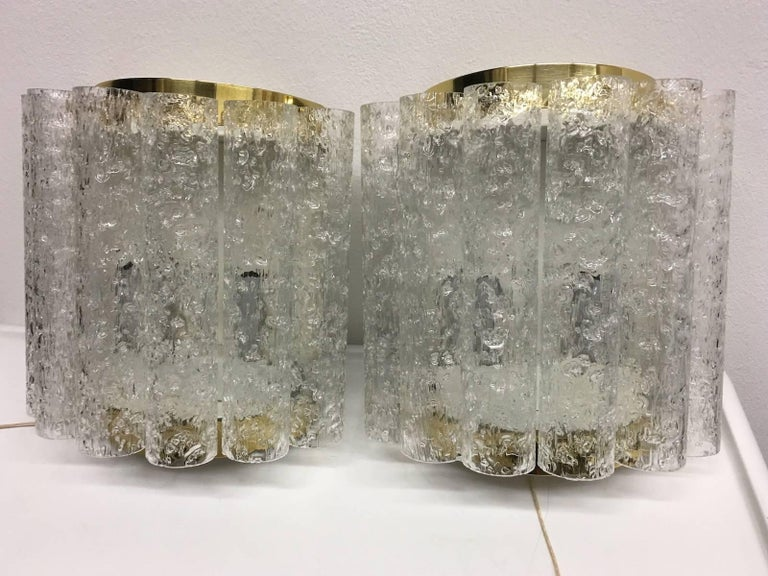 Metal Four (4) German Brass Six Tubes Doria Glass Sconces For Sale