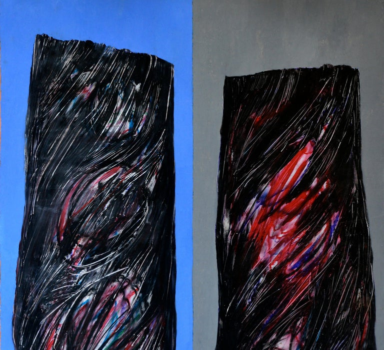 Modern  Abstract Black Shades on a Blue and red  Background, circa 1992 For Sale