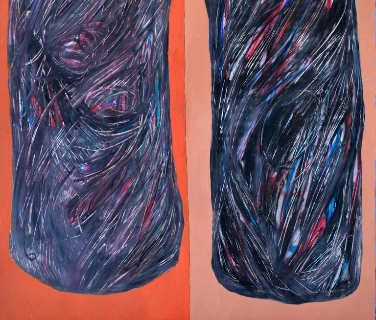 French  Abstract Black Shades on a Blue and red  Background, circa 1992 For Sale