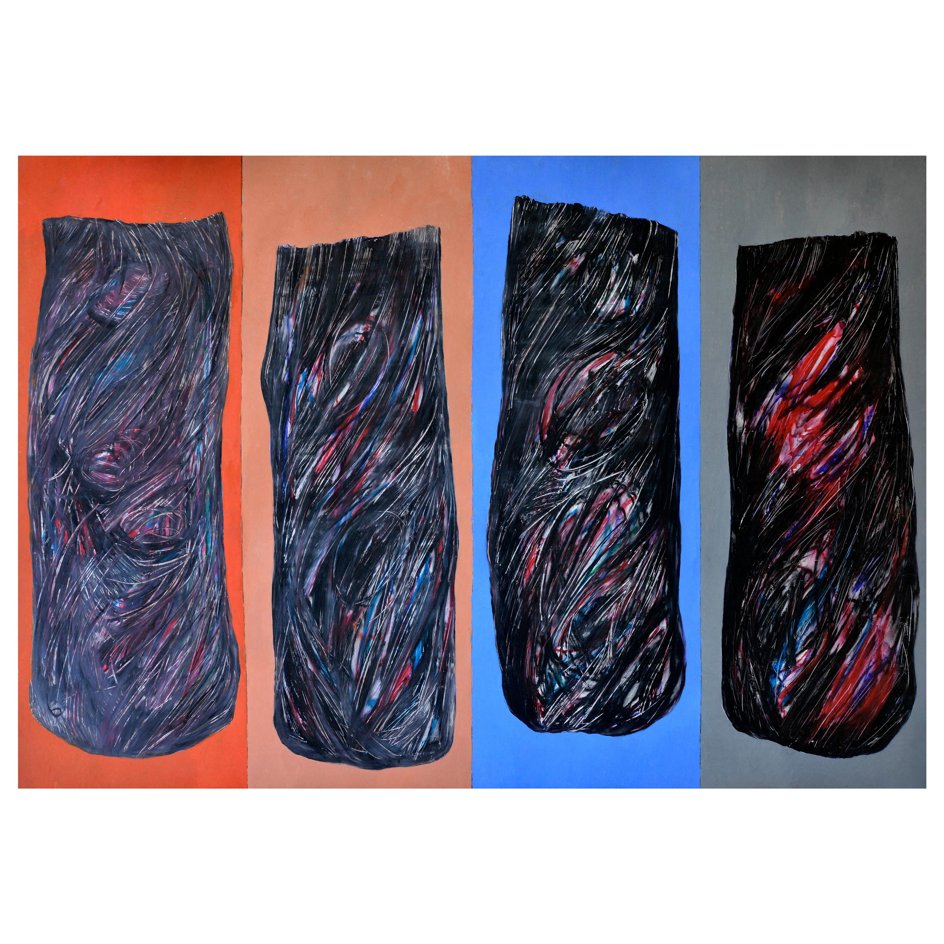 Abstract Black Shades on a Blue and red  Background, circa 1992