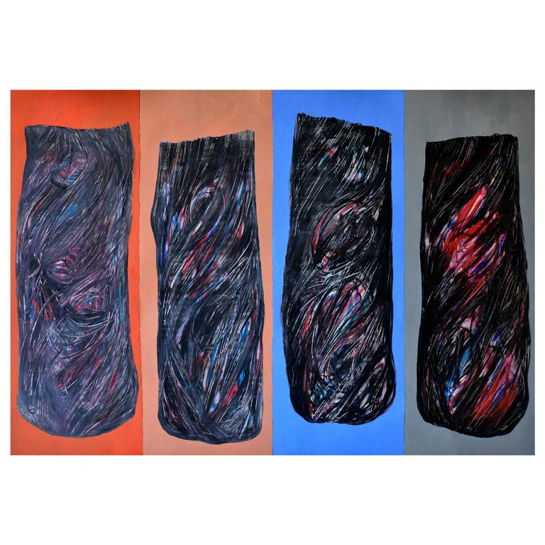 Abstract Black Shades on a Blue and red  Background, circa 1992 For Sale