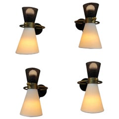 Four Adjustable Sconces by Maison Arlus, 1950
