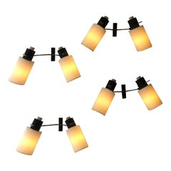 Four Adjustable Sconces by Maison Lunel, 1950s