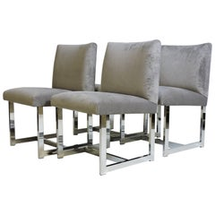 Four Adrian Pearsall Mid-Century Modern Chrome and Velvet Dining Chairs
