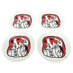 Four after Fernand Léger French Limoges Porcelain Plates