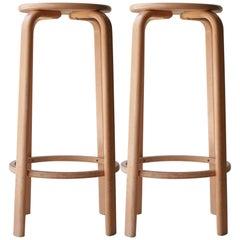 Alvar Aalto Style Laminated Wood Four Stools. Finland, 1970
