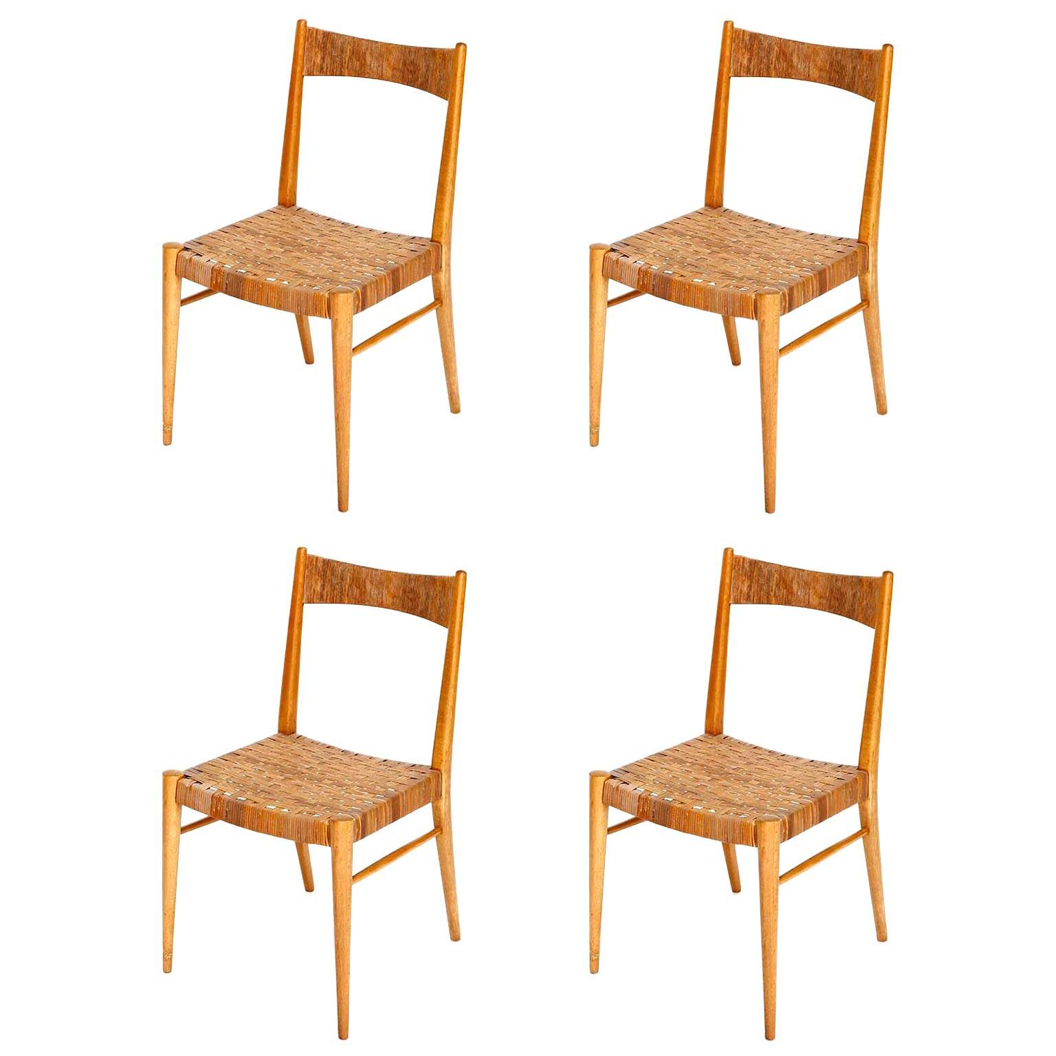 Four Anna-Lülja Praun Chairs, Wood Wicker Cane, 1950s