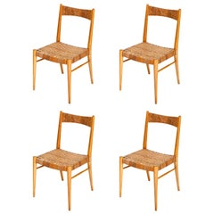 Four Anna-Lülja Praun Chairs, Wood Wicker Cane, 1950s