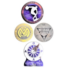 Four Antique American Car or Automobile Association & Membership Grill Badges