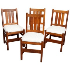 Four Antique Arts & Crafts L & Jg Stickley Mission Oak Dining Chairs, circa 1910