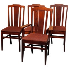 Four Antique Arts & Crafts Mission Oak Stickley School Dining Chairs, circa 1910