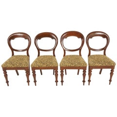 Four Antique Balloon Back Mahogany Chairs, Dining Chairs, Scotland 1880, B2472