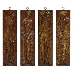 Four Antique Bronze Plaques Depicting Water-Nymphs, by Ferdinand Barbedienne
