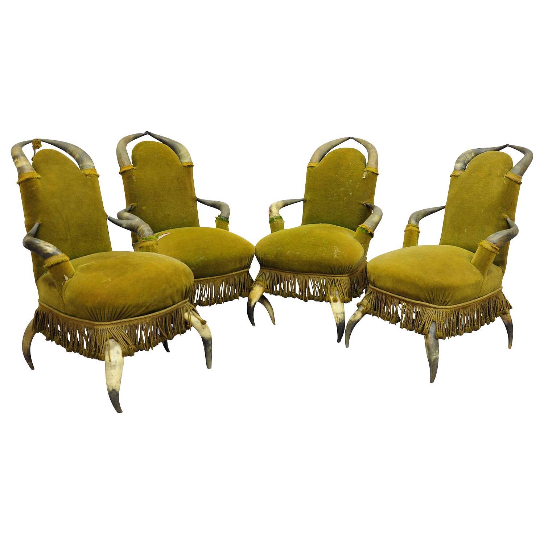 Four Antique Bull Horn Chairs, circa 1870