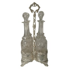 Four Antique English Wine Decanters in Stand, circa 1890