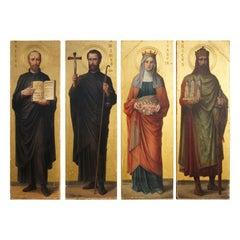 Four Antique Hand Painted & Gilt Wooden Church Panel Paintings of Famous Saints