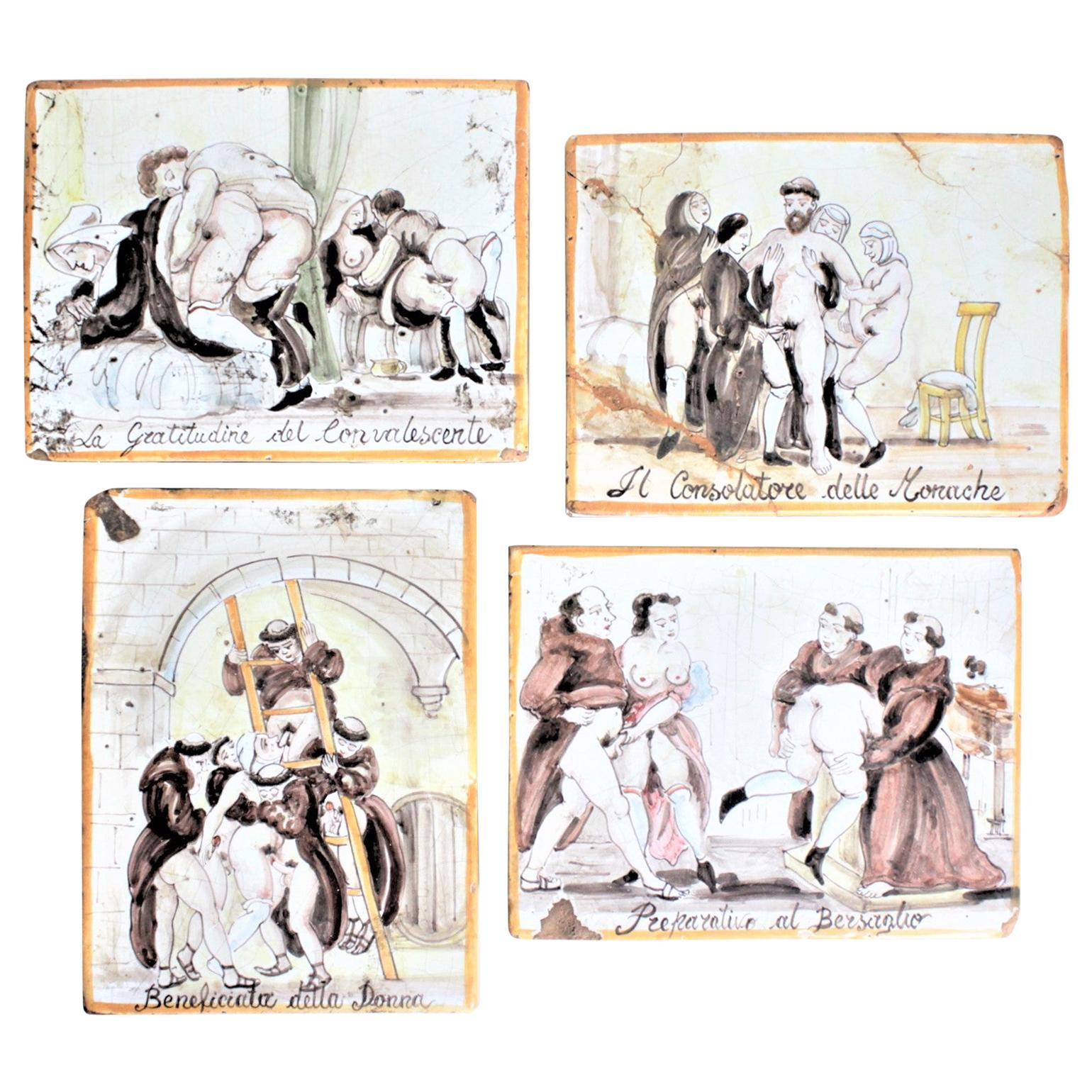 Four Antique Italian Extreme Erotica Hand Painted Pottery Tiles of Monks & Nuns