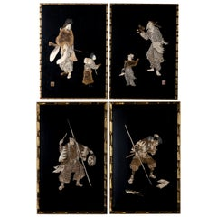 Four Antique Japanese Shibayama Lacquer Panels, Edo Period, circa 1860