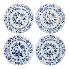 "Four Antique Meissen ""Blue Onion"" Lunch Plates in Hand Painted Porcelain"