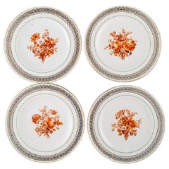 Four Antique Meissen Plates in Pierced Porcelain with Hand Painted Floral Motifs
