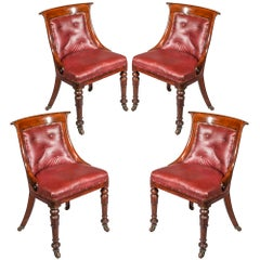 Four Antique Regency Club Chairs in Old Leather, 19th Century