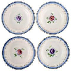 Four Antique Royal Copenhagen Deep Plates in Hand Painted Porcelain