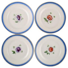 Four Antique Royal Copenhagen Plates in Hand Painted Porcelain