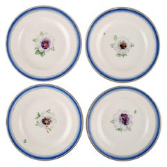 Four Antique Royal Copenhagen Plates in Hand Painted Porcelain with Flowers