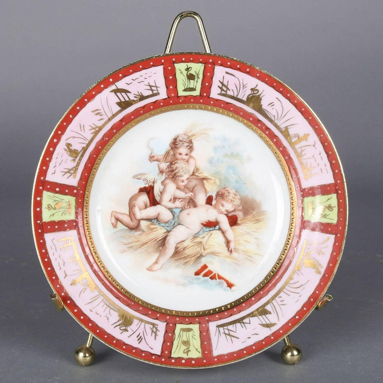 Four Antique Royal Vienna Classical Hand-Painted and Gilt Porcelain Plates For Sale 5