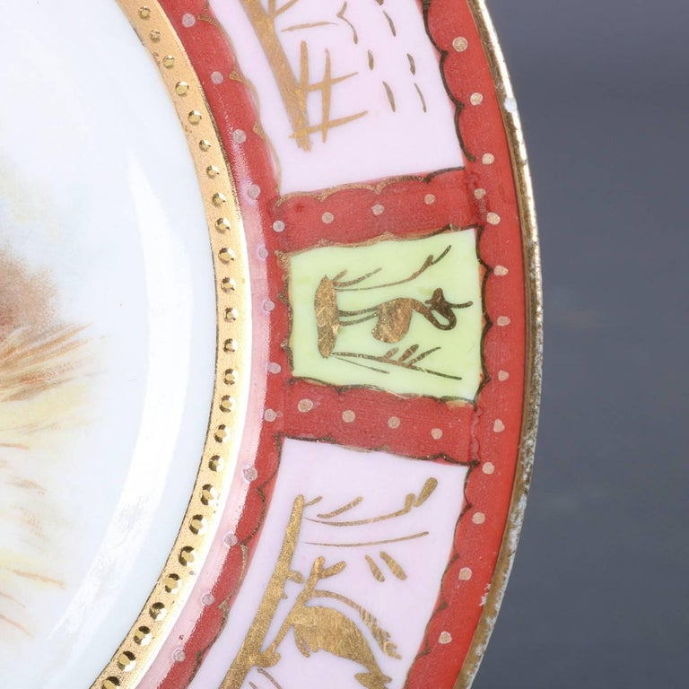 Four Antique Royal Vienna Classical Hand-Painted and Gilt Porcelain Plates For Sale 7
