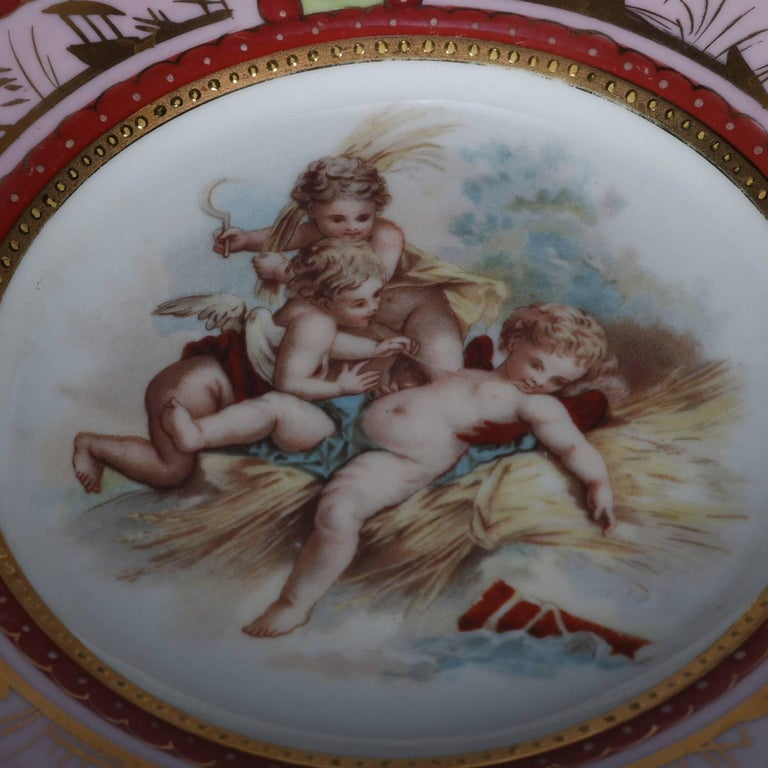 19th Century Four Antique Royal Vienna Classical Hand-Painted and Gilt Porcelain Plates For Sale