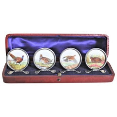 Four Antique Sterling Silver Place Card or Menu Holders with Hand-Painted Birds