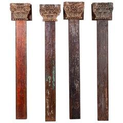 Four Antique Teak Pillars with Capitals, 20th Century