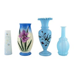 Four Antique Vases in Hand-Painted Mouth-Blown Opal Art Glass, Approx 1900