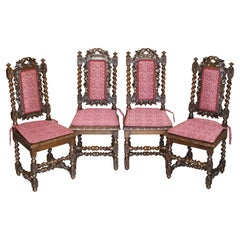Four Antique Victorian Jacobean English Oak circa 1860 Carved Dining Chairs 4