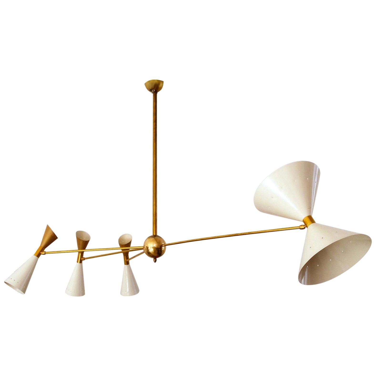 Four Arm Brass Asymmetrical Chandelier, Black Gold Pivot