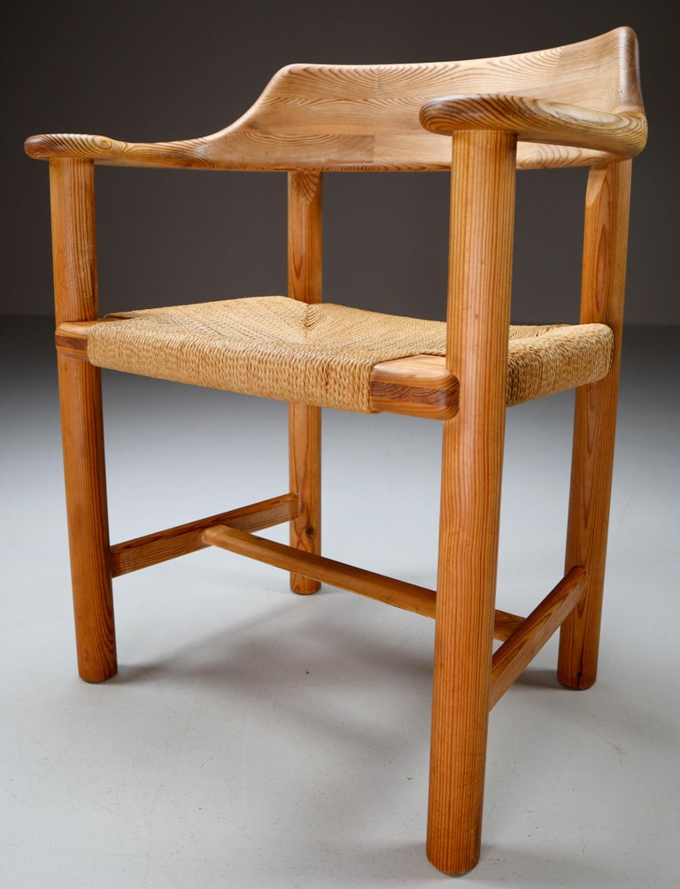 Rainer Daumiller set of four pine and cord chairs, Denmark, 1970s. The set contains four chairs with woven cord. This set is part of the rare first edition from the original design by Rainer Daumiller. That was supervised by Daumiller himself, only
