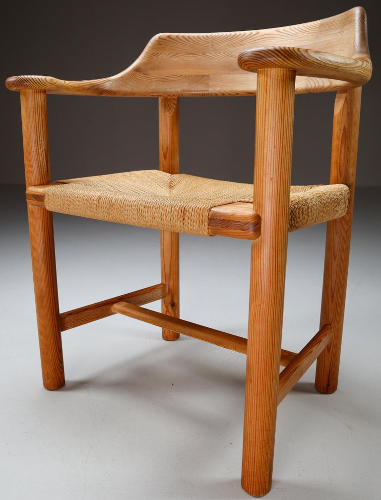Danish Four Armchairs in Pine and Cord by Rainer Daumiller for Hirtshals Savvaerk 1970s For Sale