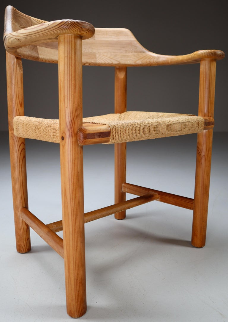Four Armchairs in Pine and Cord by Rainer Daumiller for Hirtshals Savvaerk 1970s For Sale 1