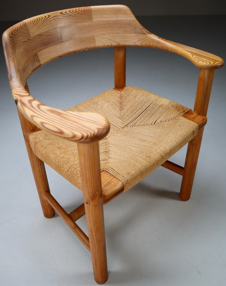 Four Armchairs in Pine and Cord by Rainer Daumiller for Hirtshals Savvaerk 1970s For Sale 2