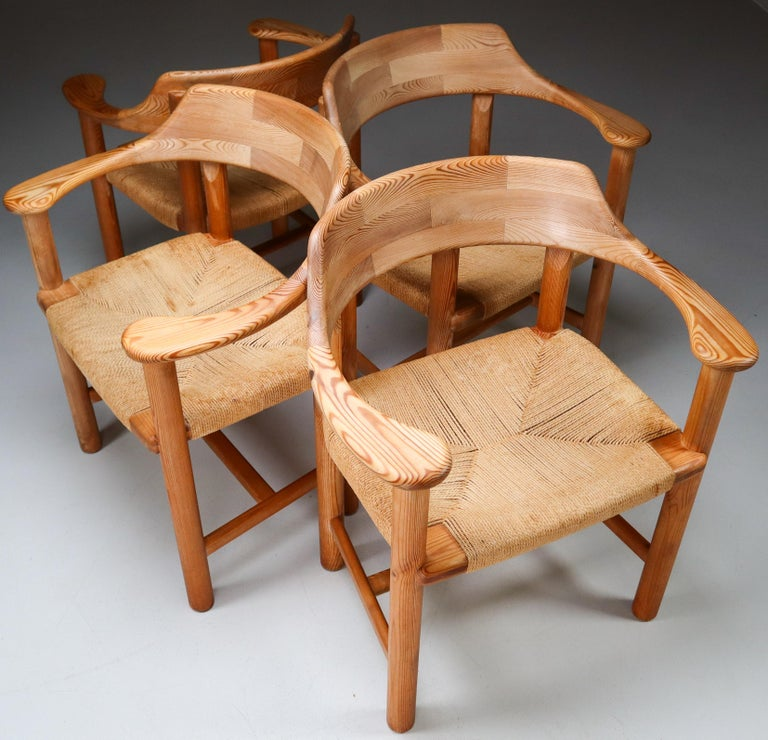Four Armchairs in Pine and Cord by Rainer Daumiller for Hirtshals Savvaerk 1970s For Sale 3