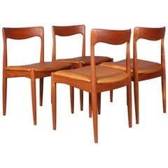 Four Arne Vodder Dining Chairs, Solid Teak
