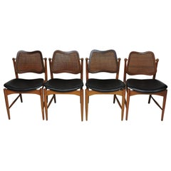 Four Arne Vodder Midcentury Danish Modern Teak and Cane Dining Chairs
